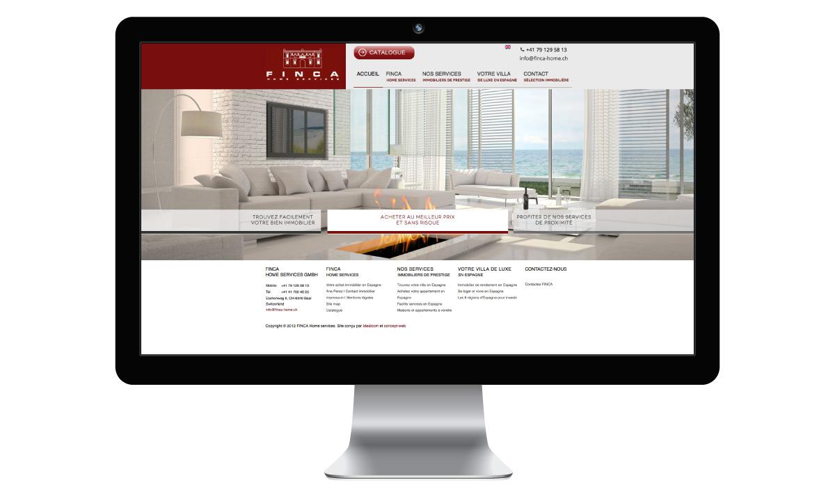 Home page du site internet de Finca Home Services