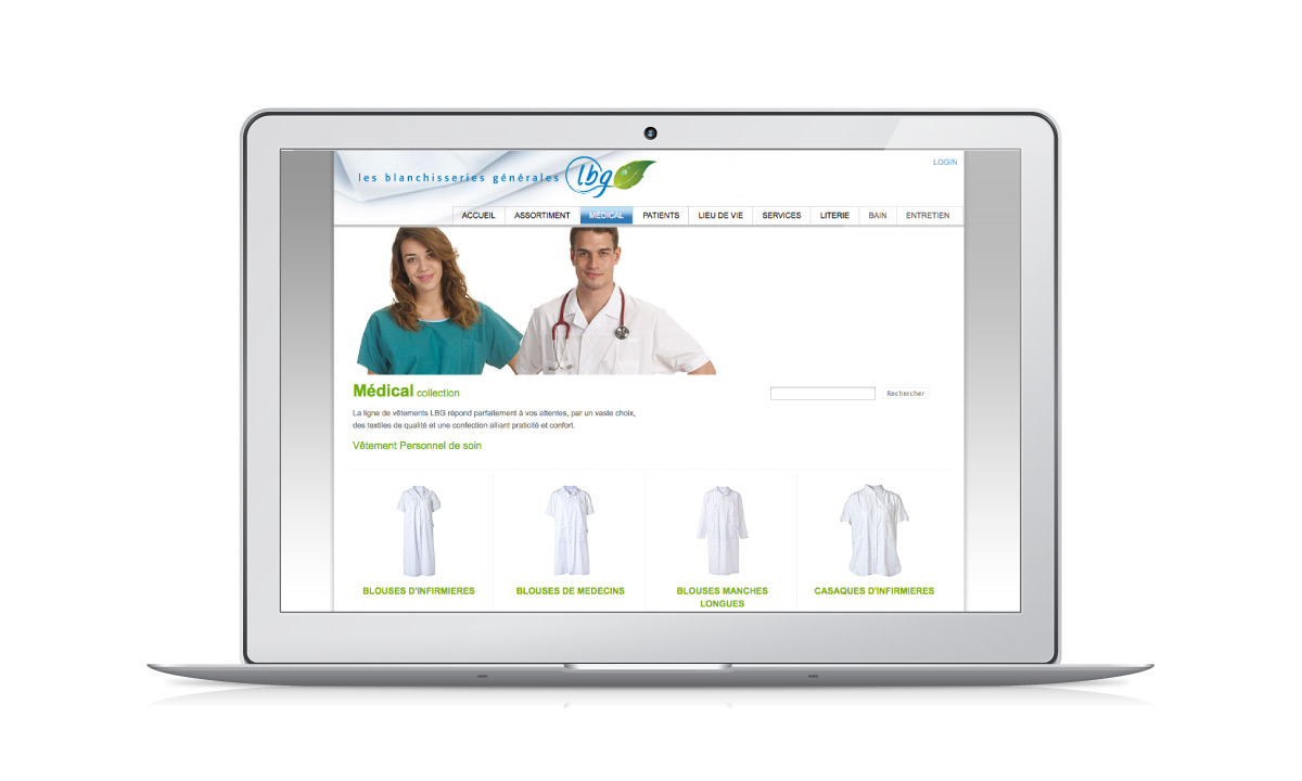 Site internet de l'entreprise LBG SA avec un e-shop intégré