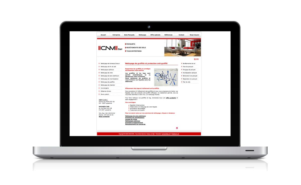 Site internet de l'entreprise de nettoyage CNM Sàrl